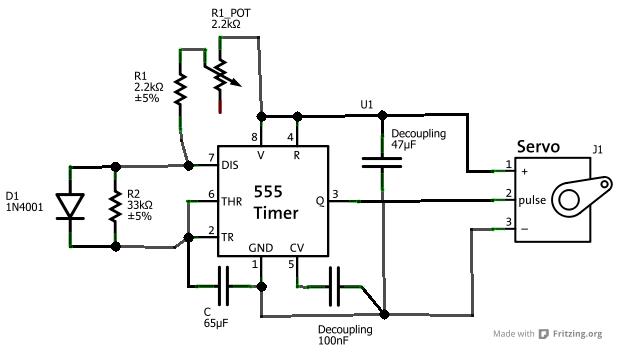 servo tester by 555 timer current projects. Black Bedroom Furniture Sets. Home Design Ideas
